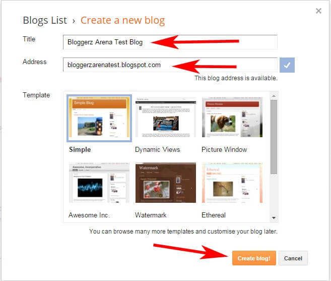 Create Free Blog At Blogger