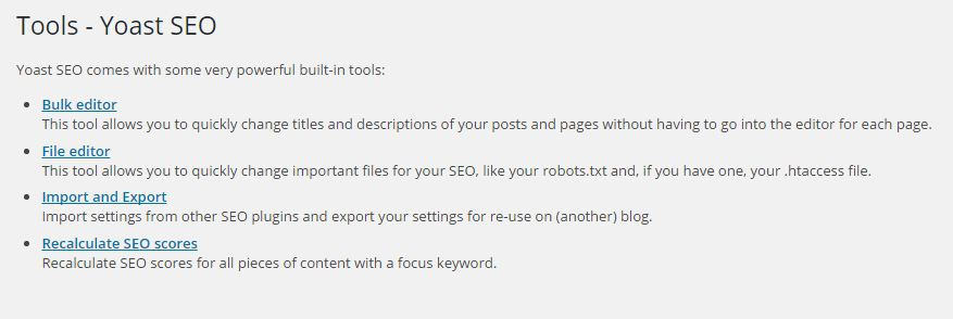 Wordpress SEO By Yoast-Tools