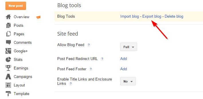 Blogger To WordPress-Download xml