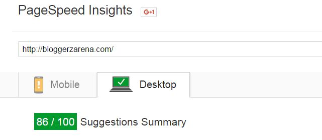 PageSpeed Insights BloggerzArena Score