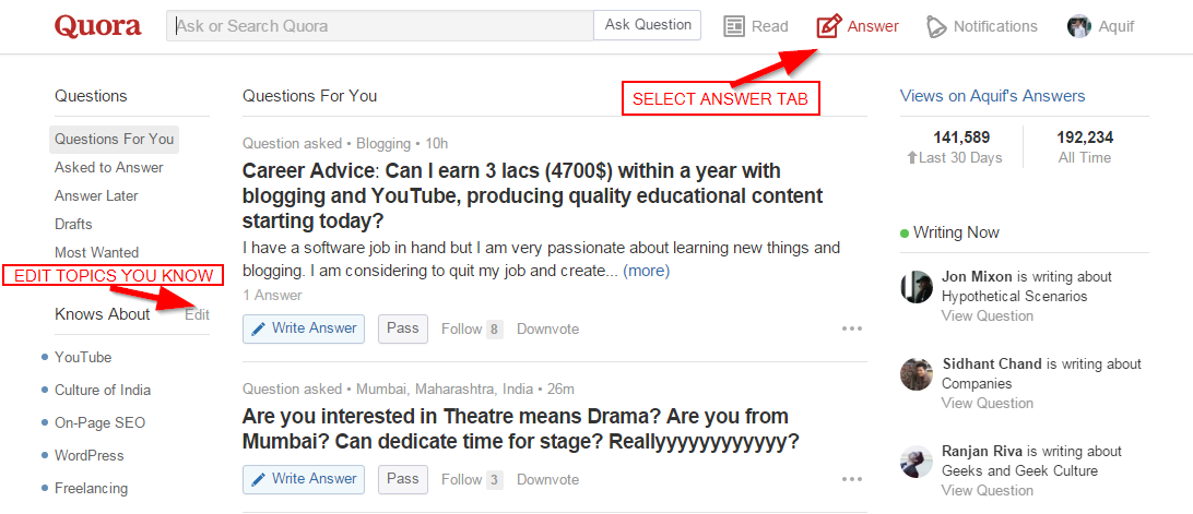 Quora Answer Tab