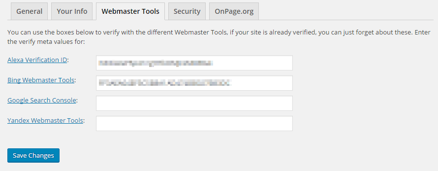 Seo By Yoast-General Settings-Webmaster's Tool