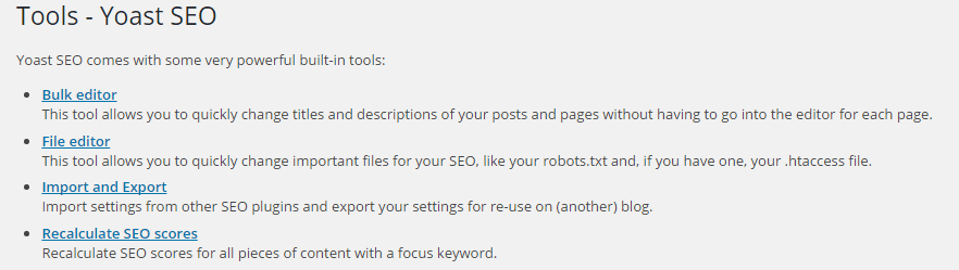 Seo By Yoast -Tools