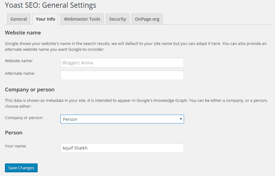 Yoast SEO General Settings