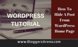 Hide A Post In WordPress