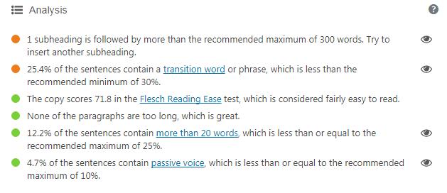 Yoast SEO Readbility Score